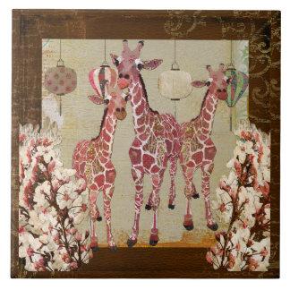 Teja rosada de la flor de cerezo de las jirafas