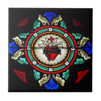 Teja sagrada del corazón vitral
