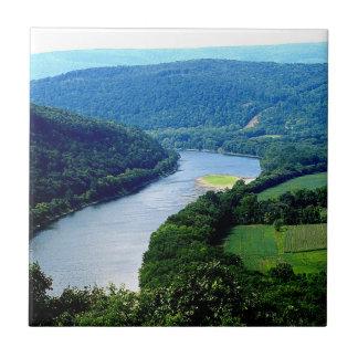 Teja sin fin de la foto del río de las montañas de