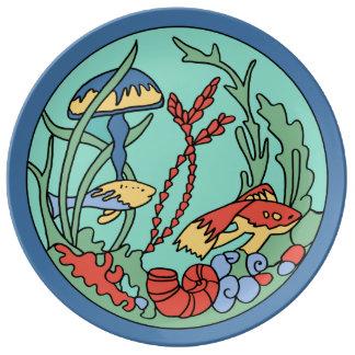 Teja submarina de los jardines de la isla de plato de cerámica