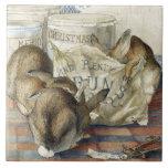 Teja Trivet del arte de los conejos del navidad de