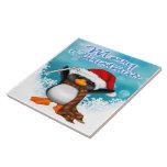 Teja/Trivet del pingüino de las Felices Navidad Azulejo Cuadrado Grande