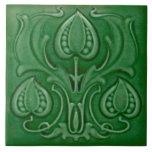 Teja verde de Repro de la mayólica de Nouveau del