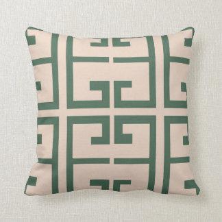 Teja verde y de color caqui cojín decorativo