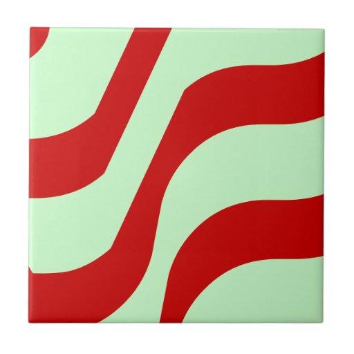 Teja verde y roja de Seafoam retro de la onda del