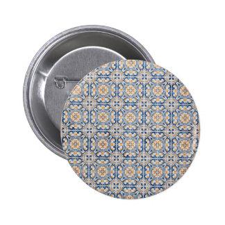 teja vieja de Portugal de la decoración azul de Pin Redondo De 2 Pulgadas