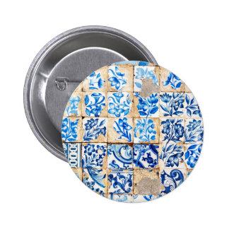 teja vieja po de Portugal de la decoración azul de Pin Redondo De 2 Pulgadas