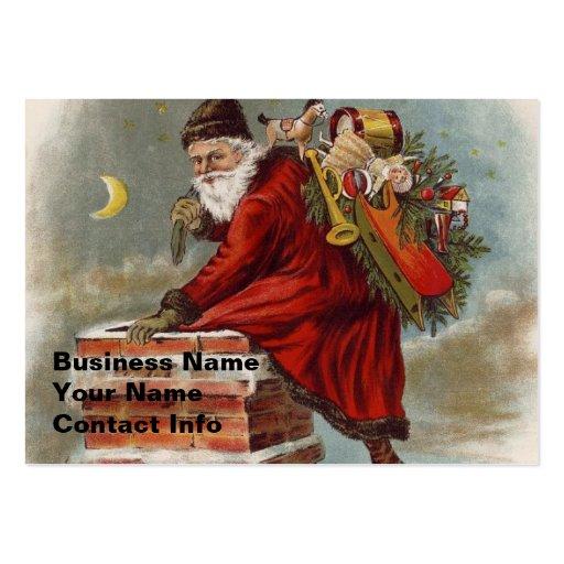 Tejado de la chimenea del navidad del padre tarjetas de negocios