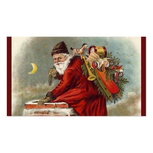 Tejado de la chimenea del navidad del padre plantillas de tarjeta de negocio