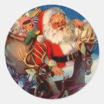 Tejado del reno de Santa del navidad del vintage Pegatina Redonda