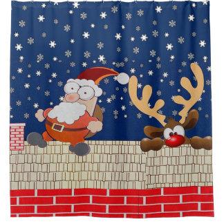 Tejado Papá Noel y cortina de ducha del reno Cortina De Baño