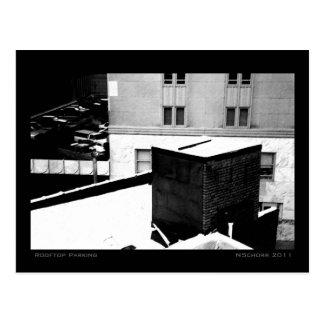 Tejado que parquea paisaje urbano del invierno tarjetas postales
