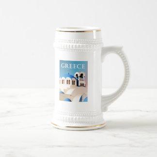 Tejado y campanario Grecia de la iglesia Jarra De Cerveza