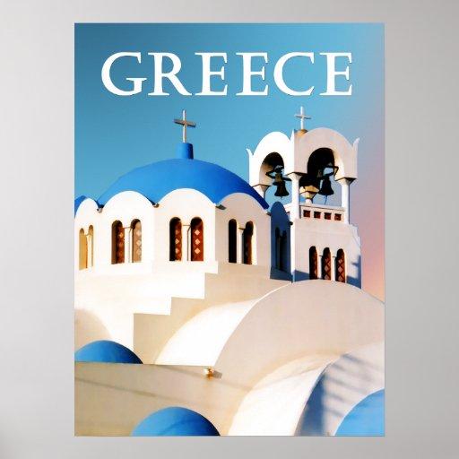 Tejado y campanario Grecia de la iglesia Póster