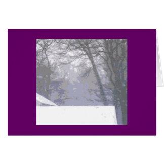 Tejado y nieve (saludos del día de fiesta) tarjeta de felicitación
