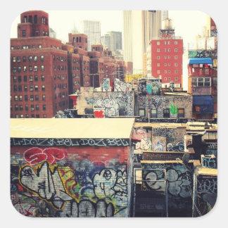 Tejados de New York City cubiertos en pintada Calcomanías Cuadradass Personalizadas