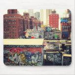 Tejados de New York City cubiertos en pintada Alfombrilla De Ratones