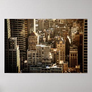 Tejados de Nueva York - rascacielos en luz del sol Posters
