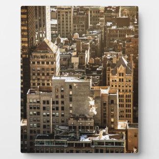 Tejados de Nueva York - rascacielos en luz del sol Placas De Madera