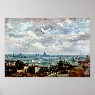 Tejados de Van Gogh del poster de París