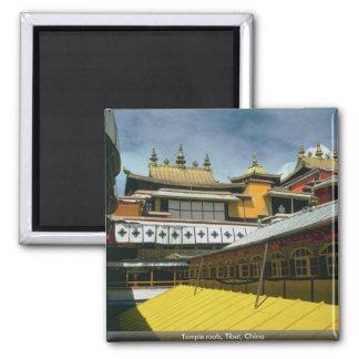 Tejados del templo, Tíbet, China Imán Cuadrado