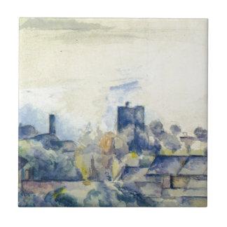 Tejados en L'Estaque de Paul Cezanne Azulejo Cuadrado Pequeño
