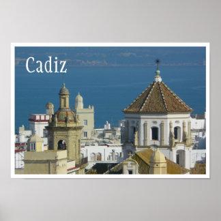 Tejados, mar Mediterráneo, Cádiz, España Póster