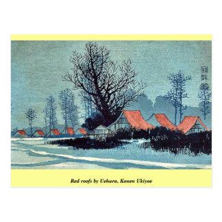 Tejados rojos por Uehara, Konen Ukiyoe Tarjeta Postal