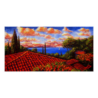 Tejados y cipreses rojos en la Riviera Poster