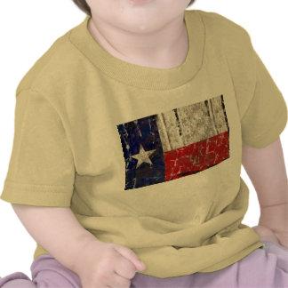 Tejas aherrumbró bandera solitaria del estado de camisetas