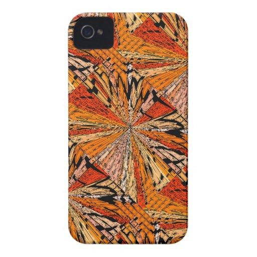 Tejas anaranjadas y negras iPhone 4 Case-Mate cárcasas