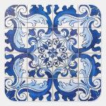 Tejas antiguas de Azulejo Pegatina Cuadrada
