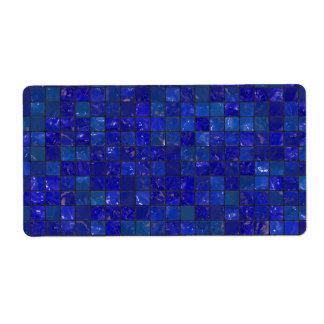 Tejas azules del cuarto de baño etiqueta de envío