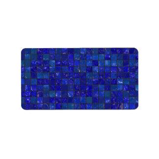 Tejas azules del cuarto de baño etiquetas de dirección