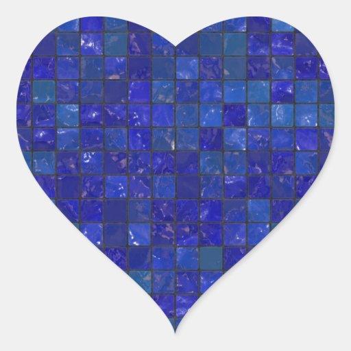 Tejas azules del cuarto de baño pegatina de corazón personalizadas