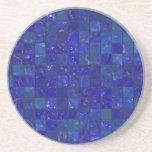 Tejas azules del cuarto de baño posavasos diseño