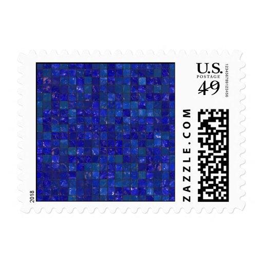Tejas azules del cuarto de baño sello postal