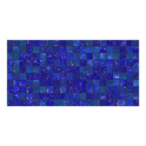 Tejas azules del cuarto de baño tarjetas con fotos personalizadas
