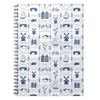 Tejas azules holandesas spiral notebook