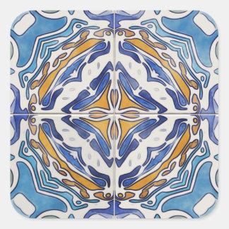 Tejas azules pegatina cuadrada
