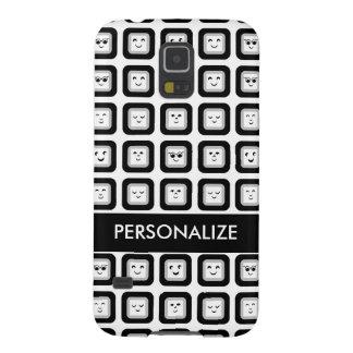 Tejas blancos y negros modernas del Emoticon con Fundas De Galaxy S5