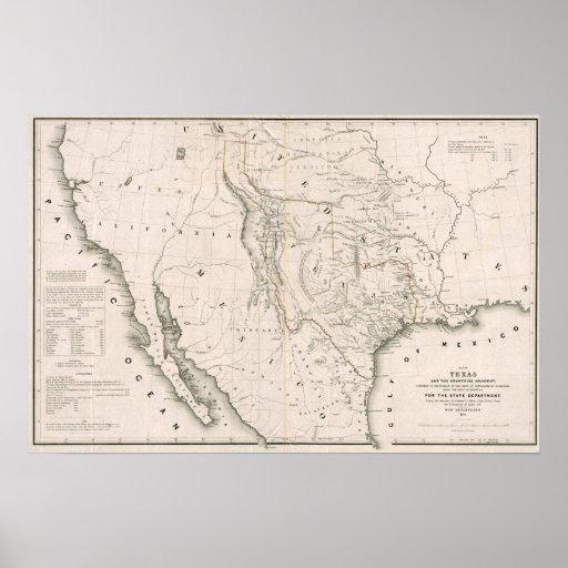 Tejas California y Oregon, 1846 Poster