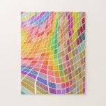 Tejas coloreadas en un modelo ondulado puzzle con fotos