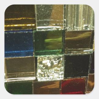 tejas coloridas del rojo del multicolor del mosiac pegatina cuadrada