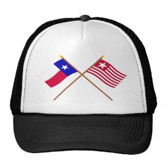 Tejas cruzado y banderas largas de la expedición gorra