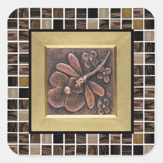 Tejas de cristal de cobre pegatina cuadrada