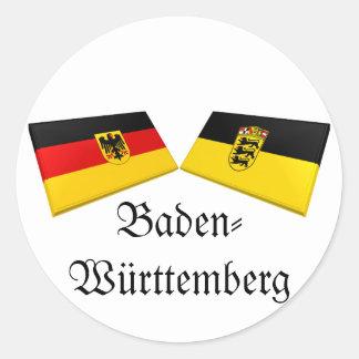 Tejas de la bandera de Baden-wurttemberg, Alemania Pegatina Redonda