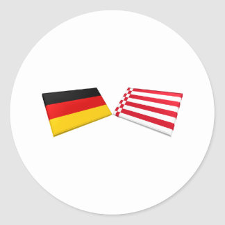 Tejas de la bandera de Bremen, Alemania Pegatinas Redondas