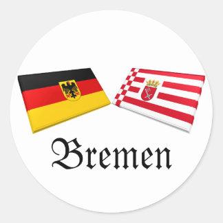 Tejas de la bandera de Bremen, Alemania Etiqueta Redonda