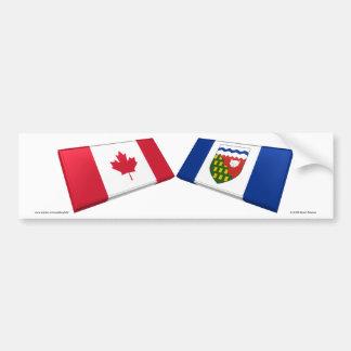 Tejas de la bandera de Canadá y de los territorios Pegatina Para Auto